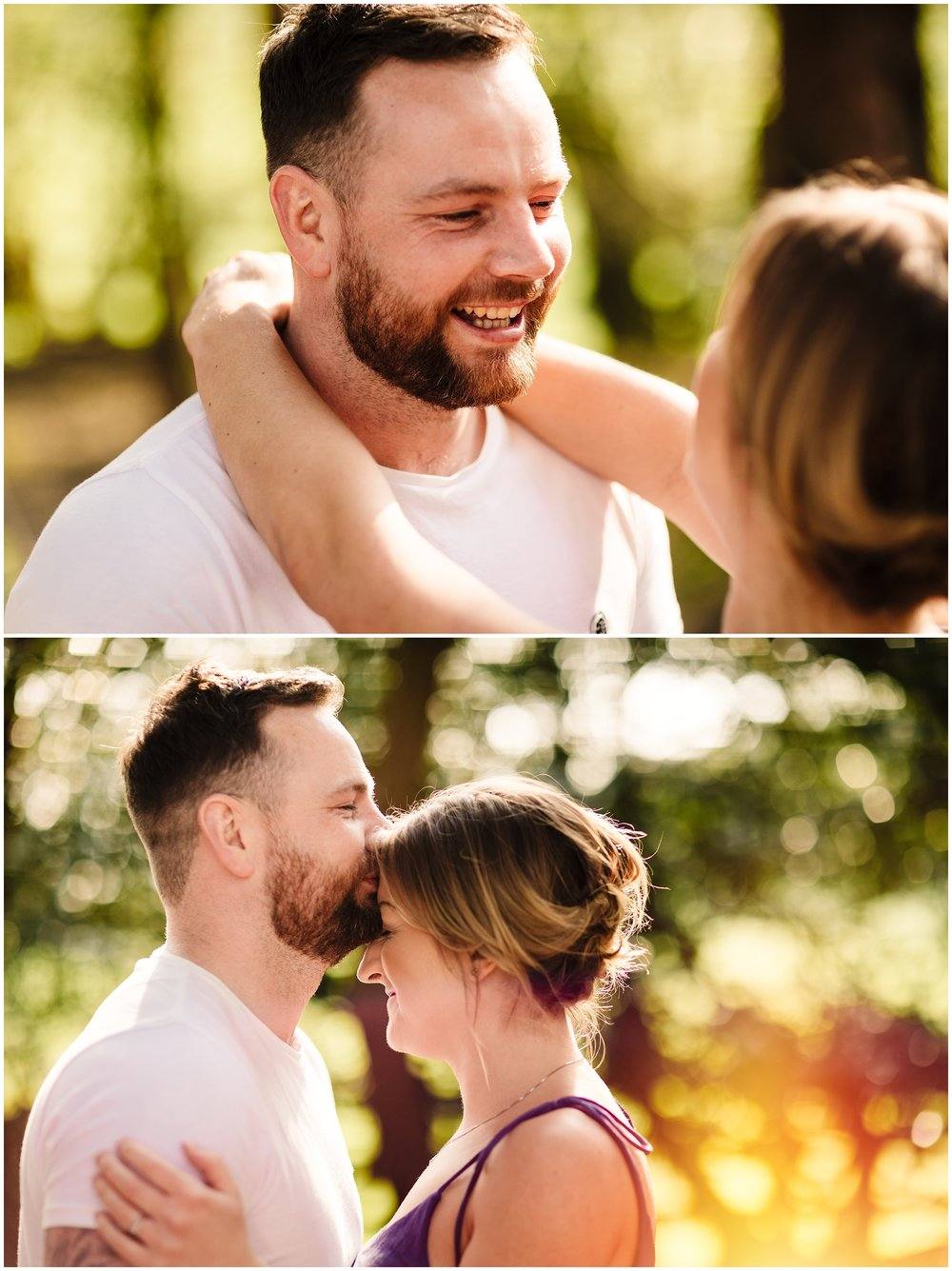 A couple kissing and cuddling on their yorkshire pre-wedding shoot
