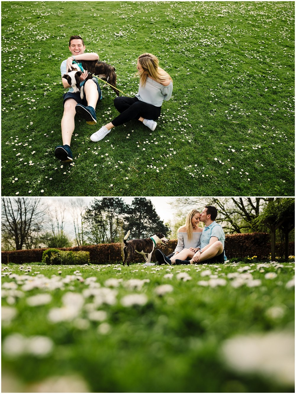 An engaged couple and their dog on an engagement shoot in rowntree park in york