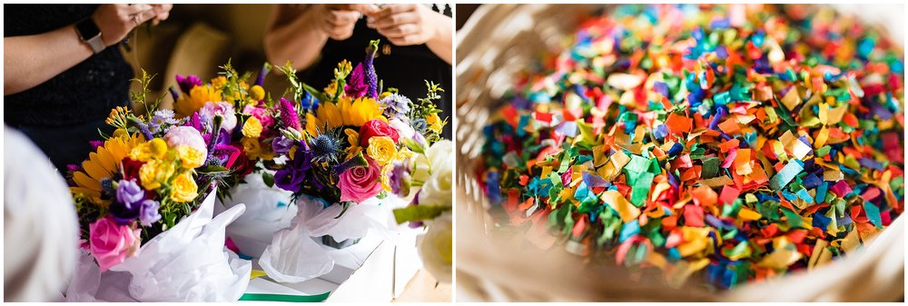 colourful wedding bouquet and shot glasses