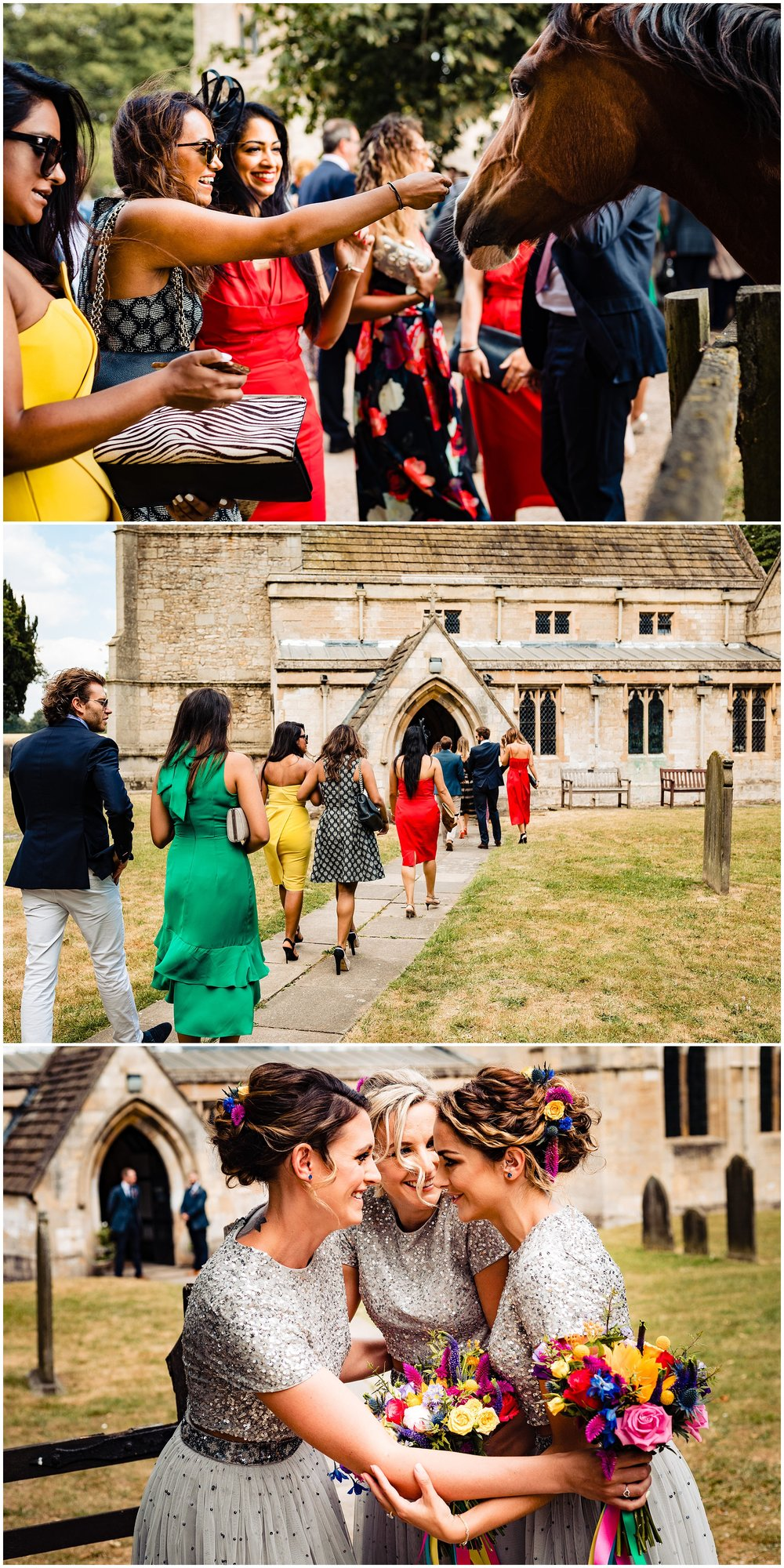 guests at a wedding and bridesmaids outside the church in yorkshire