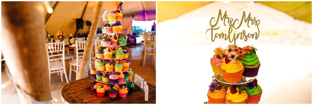 Colourful wedding cupcakes