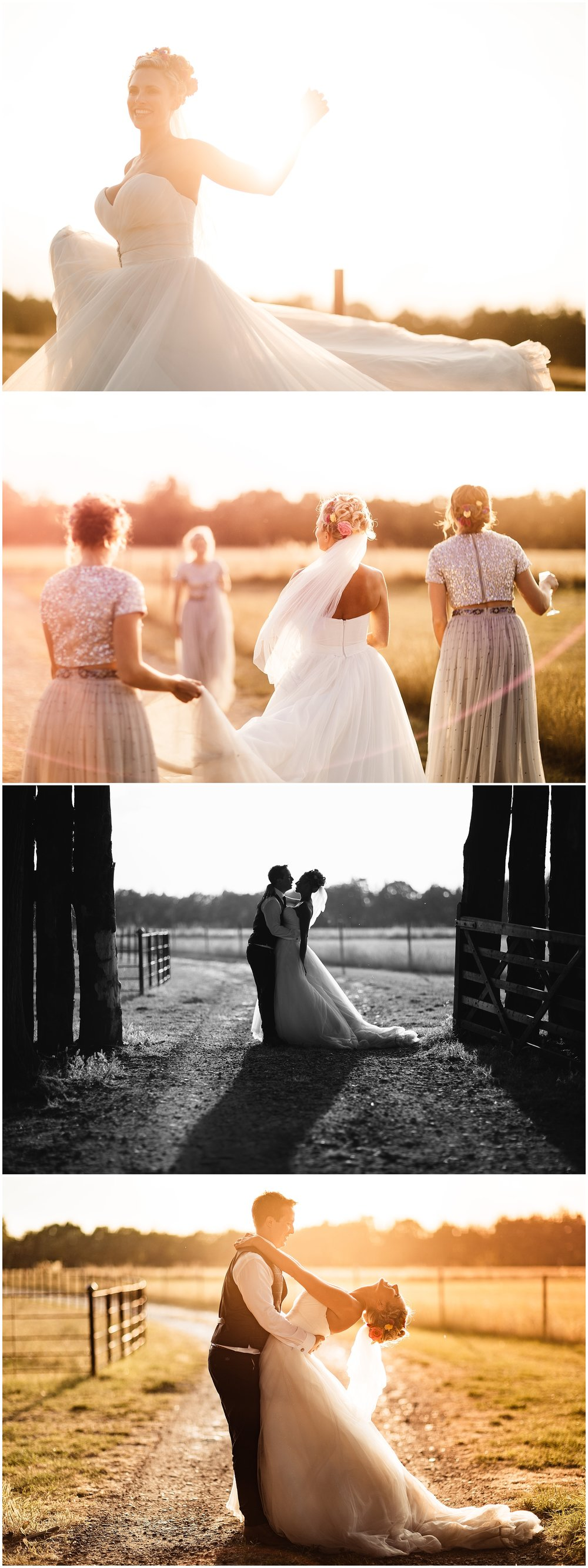 A bride and groom and bridesmaids at sunset in yorkshire