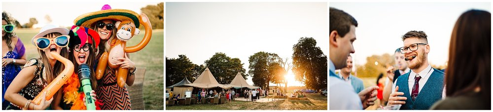 guests at a tipi wedding in yorkshire at sunset
