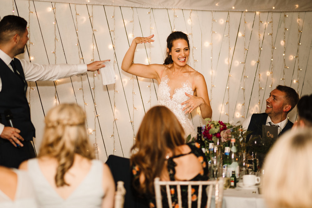 A bride pulling a funny face during