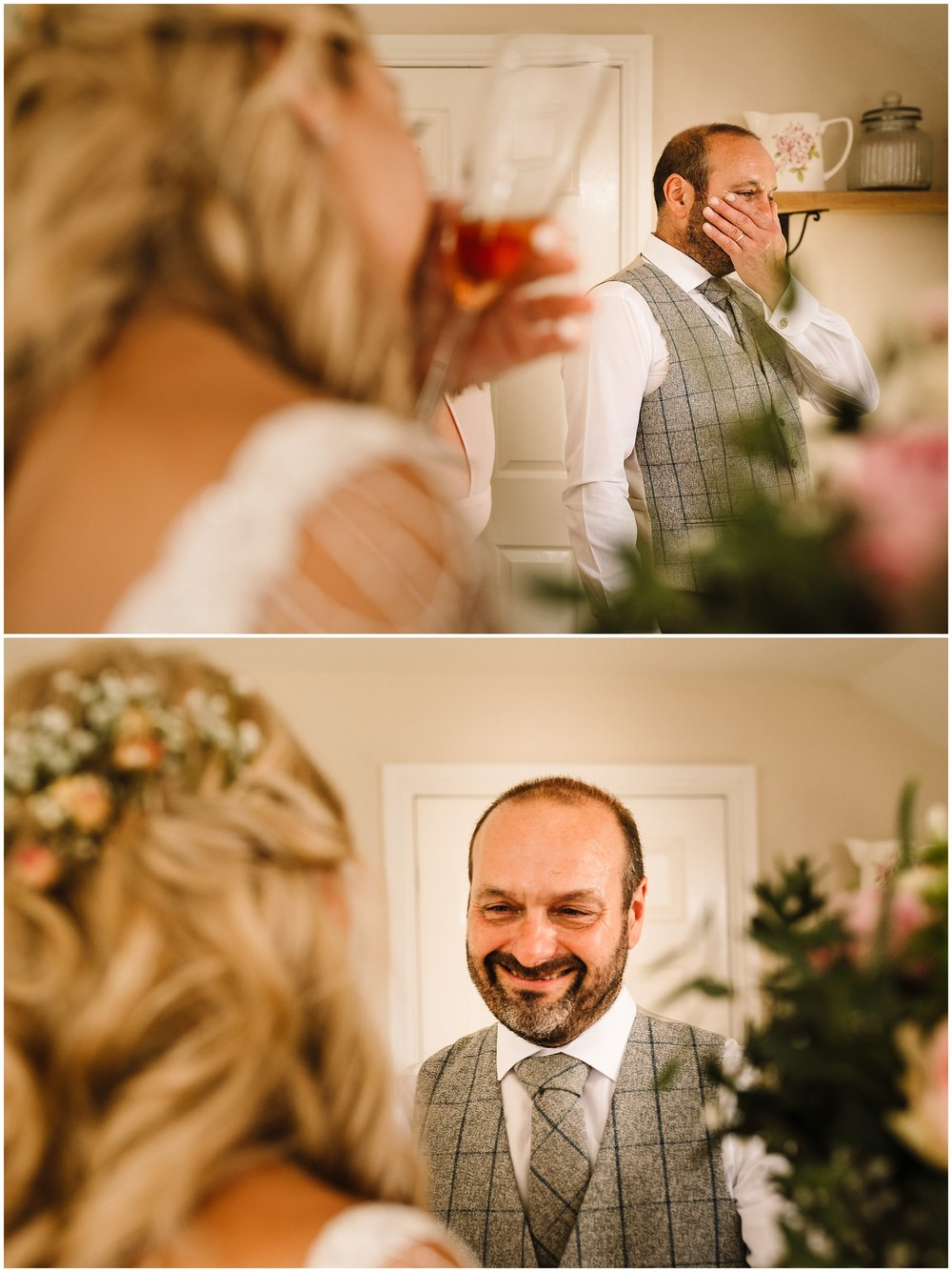 FATHER OF THE BRIDE CRYING AS HE SEES HIS DAUGHTER IN HER WEDDING DRESS