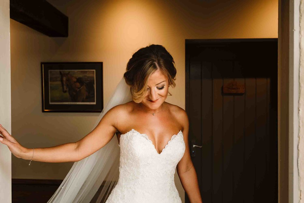 a bride walking out the door