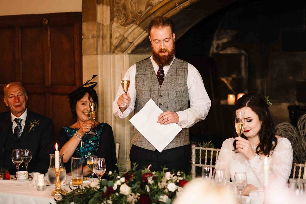 a groom making a toast during his speech