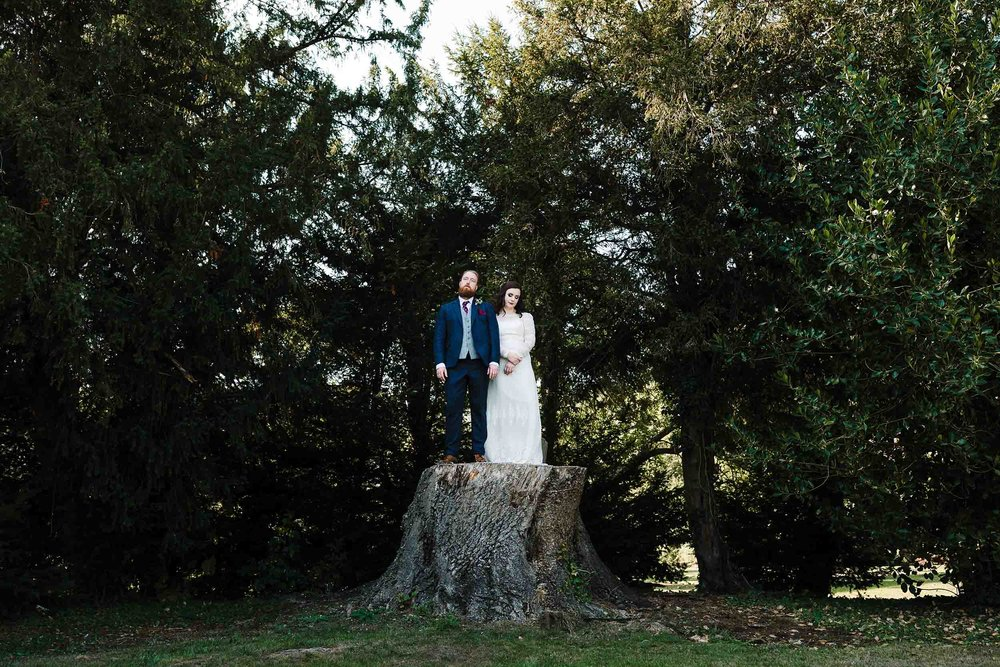 a bride and groom standing on a giant tree stump