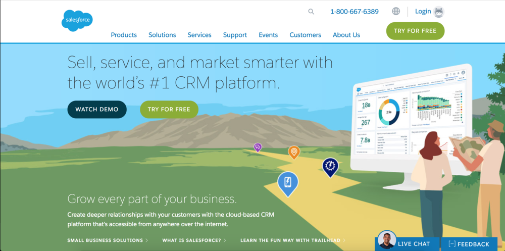 Salesforce homepage sales funnel