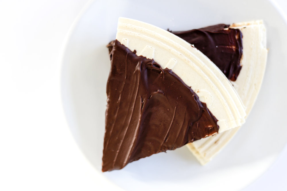 "Take one Oblaten, original or chocolate, and cover one side with peanut butter.  Take one more oblaten and make a ""sandwich.""  Dip into melted chocolate, place in fridge on parchment paper to cool.  Enjoy!"