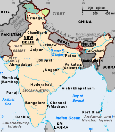 The  Siliguri Corridor  is the tiny strip of Indian territory within the red highlighted circle. | Image Source:  Wikimedia Commons .
