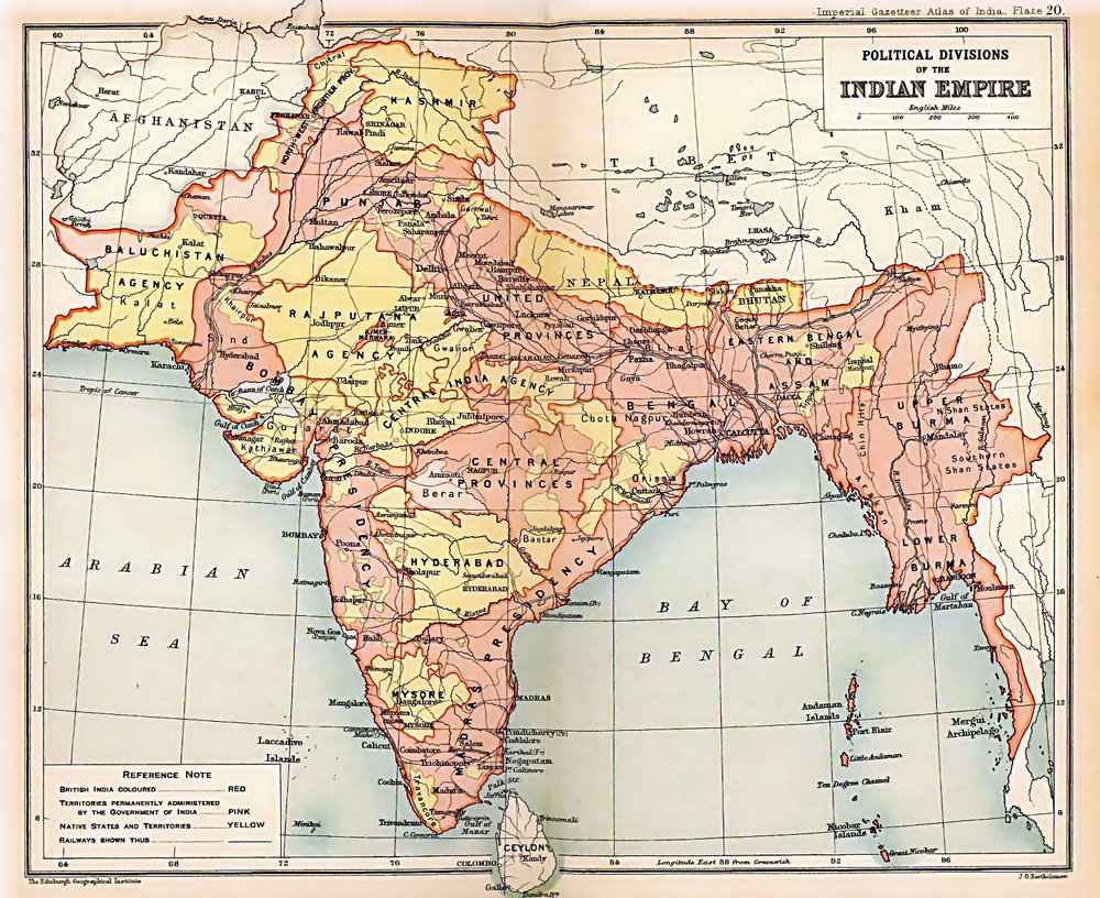 British India and the Princely States in 1909, with the former shaded pink and the latter yellow. | Image Source:   Imperial Gazetteer of India   (Edinburgh Geographical Institute; J. G. Bartholomew and Sons. - Oxford University Press, 1909).