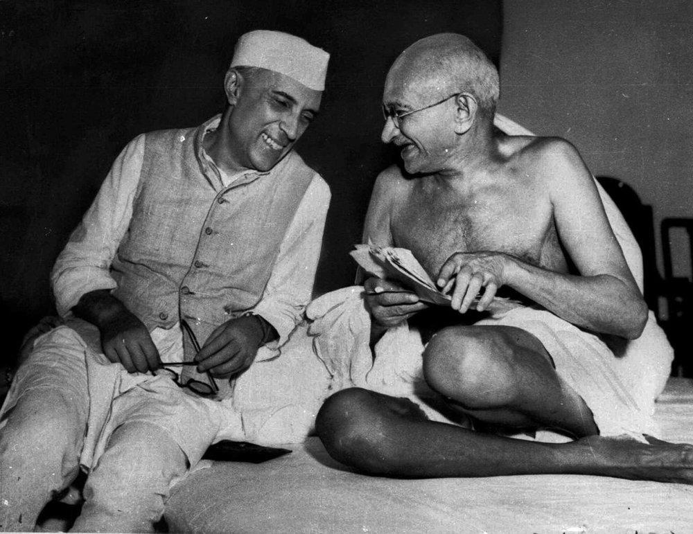 Jawaharlal Nehru (left) and Mohandas Karamchand Gandhi (right). | Image source:   The   New York Times  .