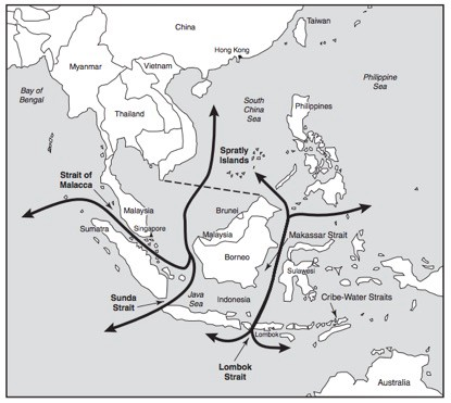 Strategic Straits: Malacca, Sunda, Lombok, Makassar and Other Sea Lanes. | Image Source:Richard Sokolsky, Angel Rabasa & C.R. Neu, The Role of Southeast Asia in US Strategy toward China (Santa Monica, CA: RAND, 2000). p. 12.