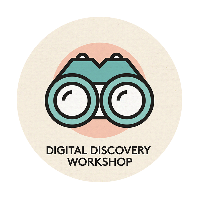 circular Digital discovery workshops icon featuring a stylised image of blue binoculars on a pink circle on an ecru background