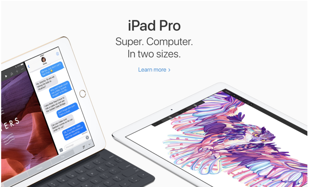 Landing page showing the shiny products that will appeal to consumers.