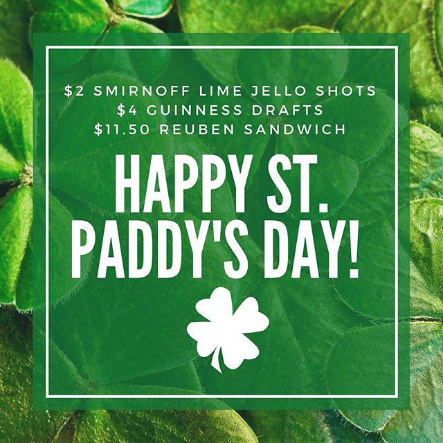 Happy St. Patrick's Day!  TODAY ONLY - $2 Smirnoff Lime jello shots, $4 Guinness drafts!  Soak it all up with our Reuben sandwich for only $11.50.  Don't forget to ask about our Irish specials still going on! #rossandhall #stpatricksday