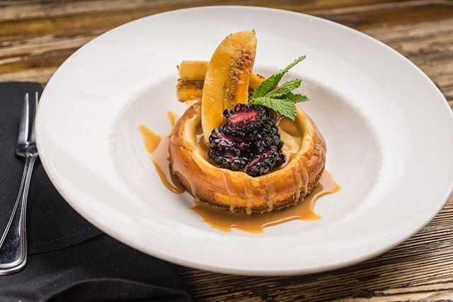 For your humpday treat, have something sweet.  Our new Caramel Cheesecake comes topped with brûléed bananas and blackberries.  #rossandhall #caramelcheesecake #drool #dessertfirst #fancy