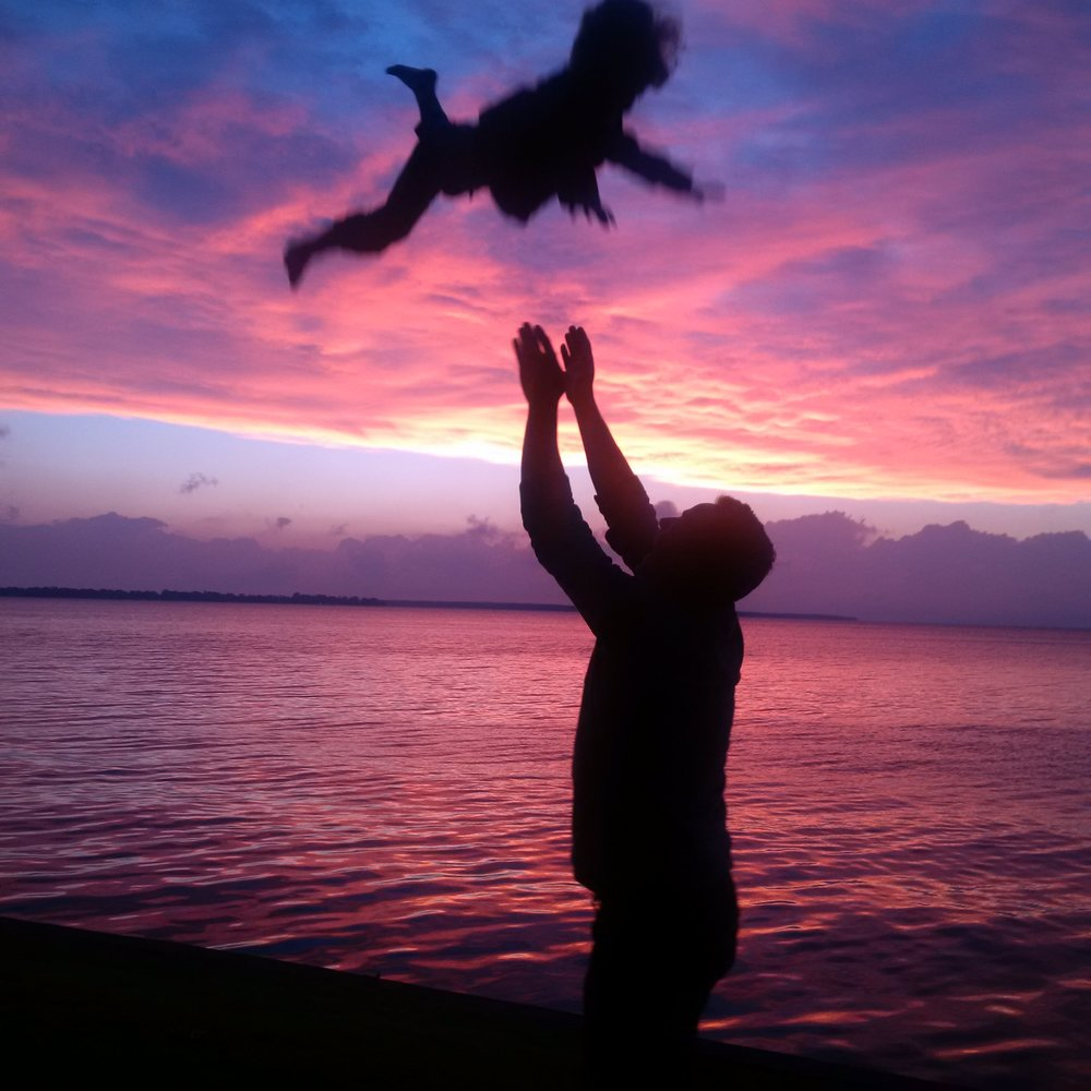 Bob's son, Court, with daughter Daisy at Lake Simcoe
