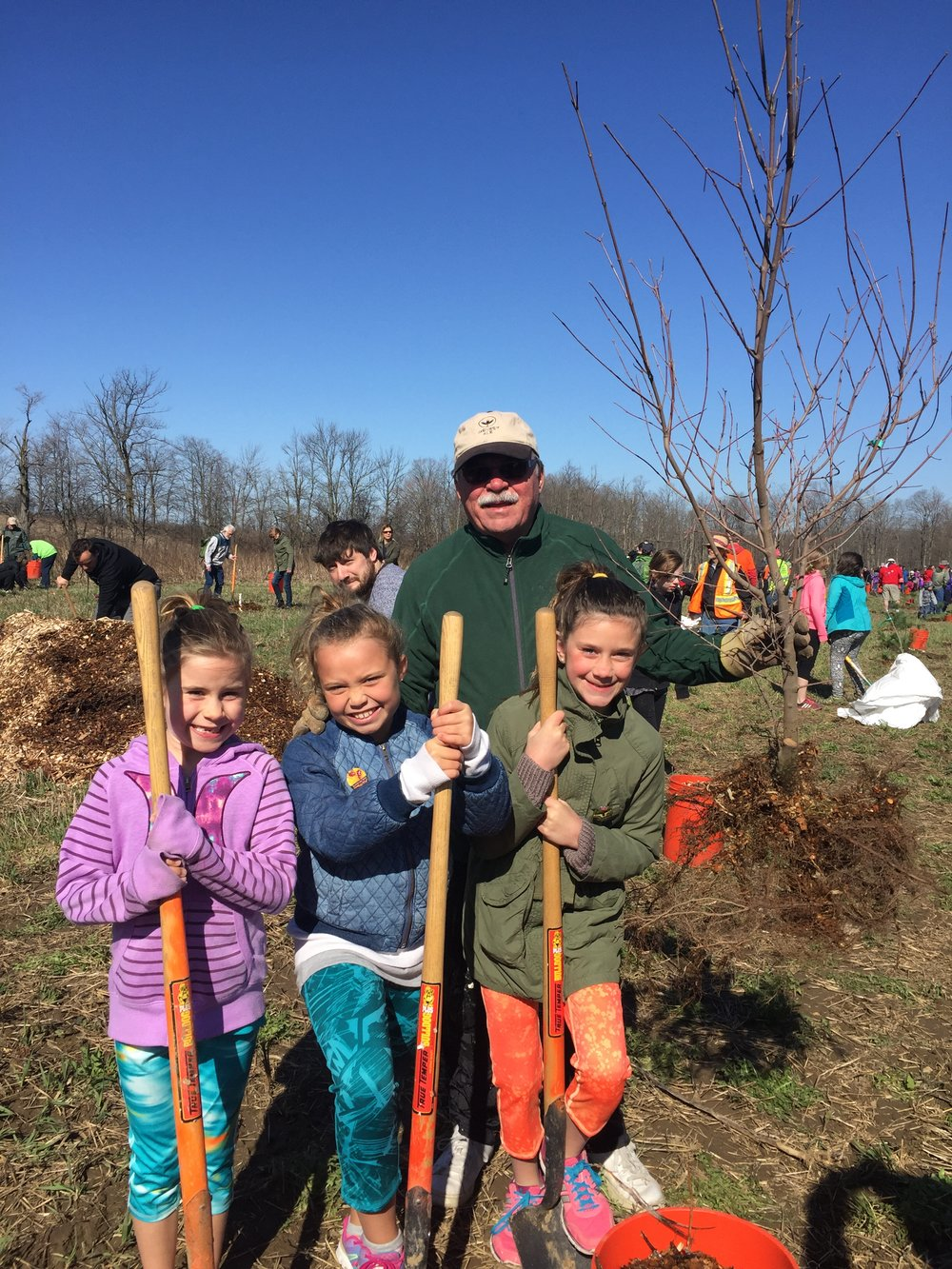 Planting trees with Frankie, Ava and Sadie