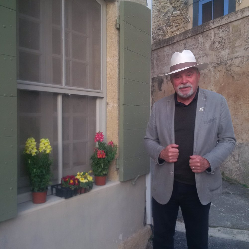 Author Desautels in front of his rental house in Provence.