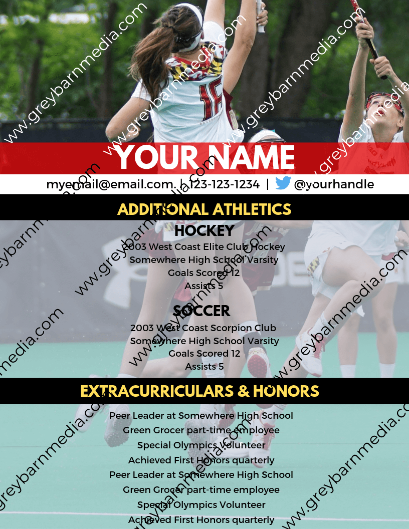 custom college lacrosse recruiting profile template 2