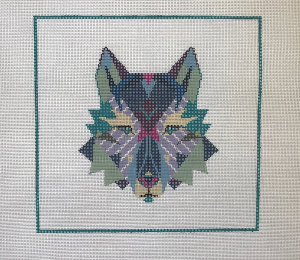 """Wandering Wolf - (PP41) 12""""w x 11""""H on 13 mesh"""