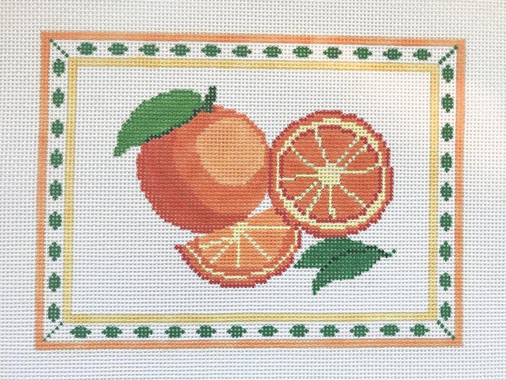 "Oranges - (PP43) 8.5""W x 6""H on 13 mesh"