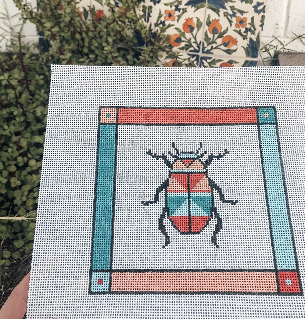 "Beetle Bug - (PP42) 7""W x 6.5""H on 13 mesh"
