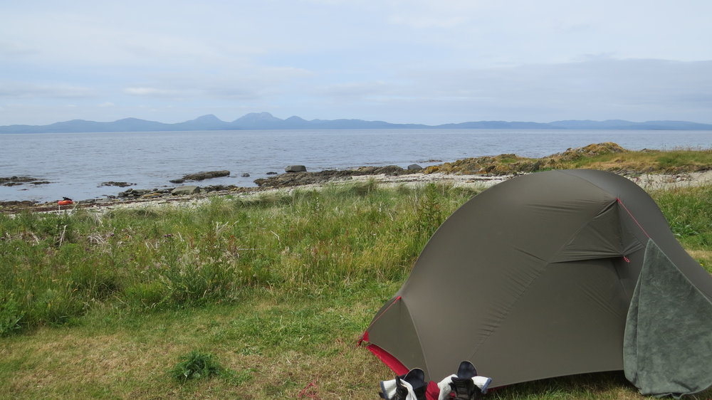 Tent with Jura in Background