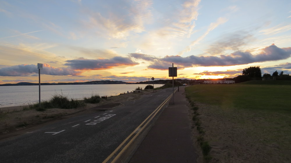 Sunset on arrival at Monifieth