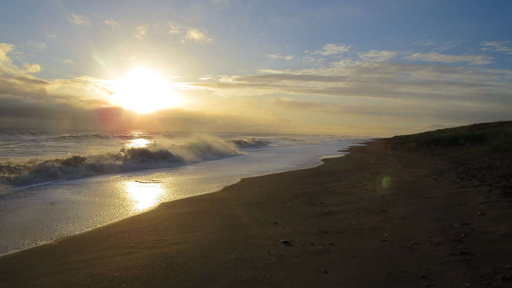 Sun Rising and Waves