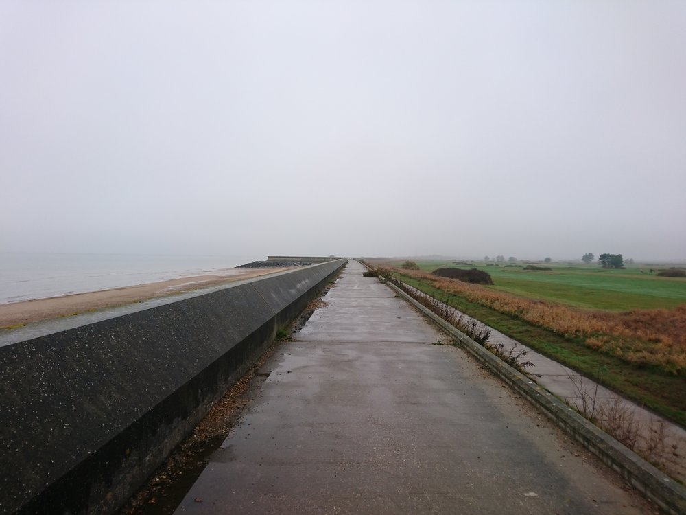 Sea Wall passing Frinton Golf Club