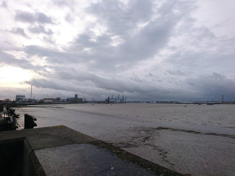 Looking back to Tilbury Docks