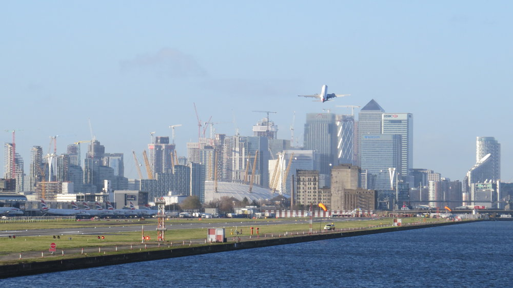 City Airport with Canary Wharf in Background