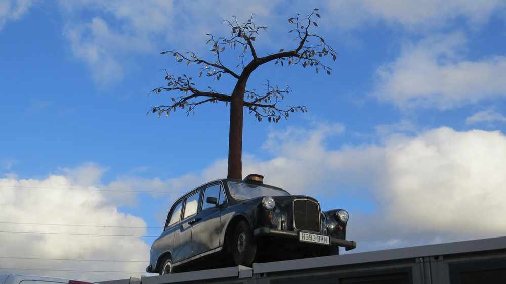 Tree & Taxi Sculpture
