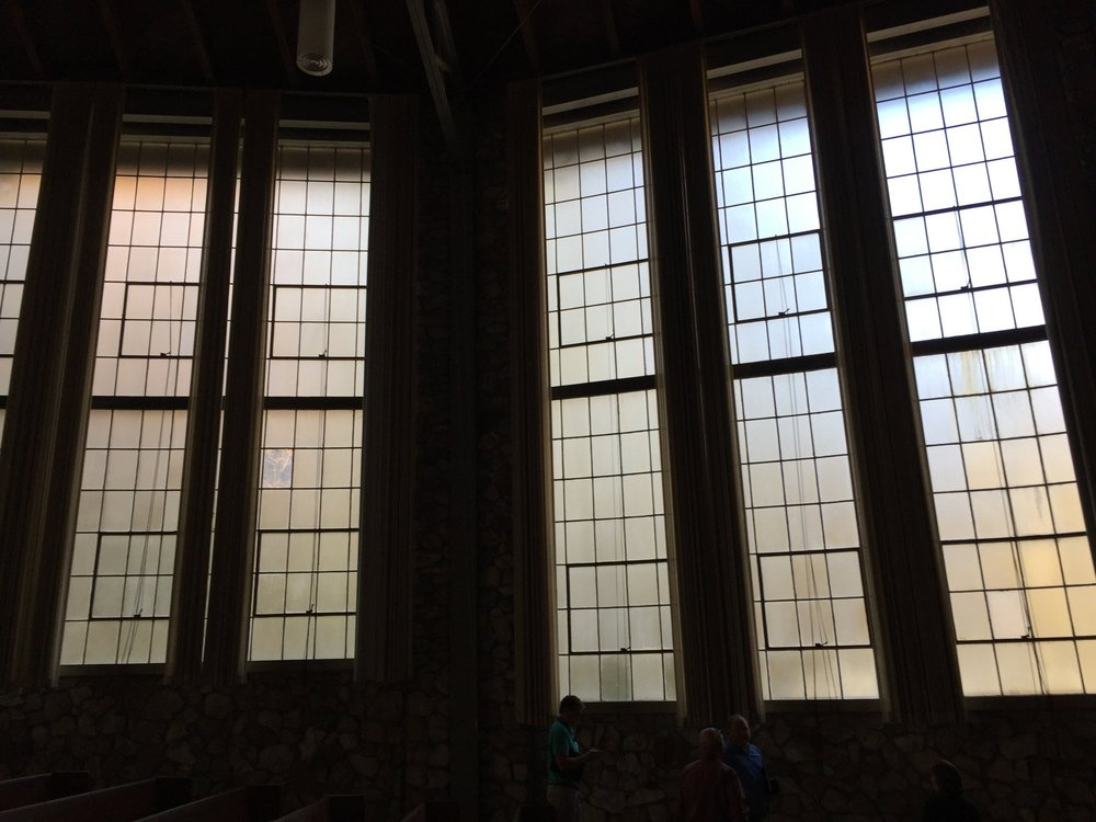 Interior view of church windows before