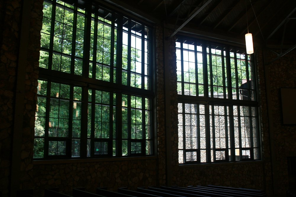 Interior view of church windows after