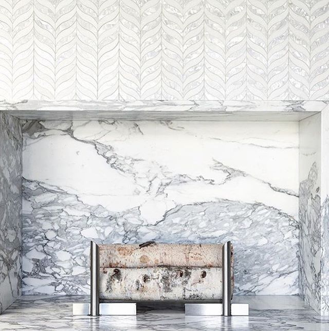 Fireplace goals. . .  #marble #mosiac #tiles #fireplacesurround #interiordesignideas #tiledesign #bozeman #shopsmall #mountainchic #boutiqueshopping #luxuryhomes #annsacks #fantasiashowrooms photo @annsacks