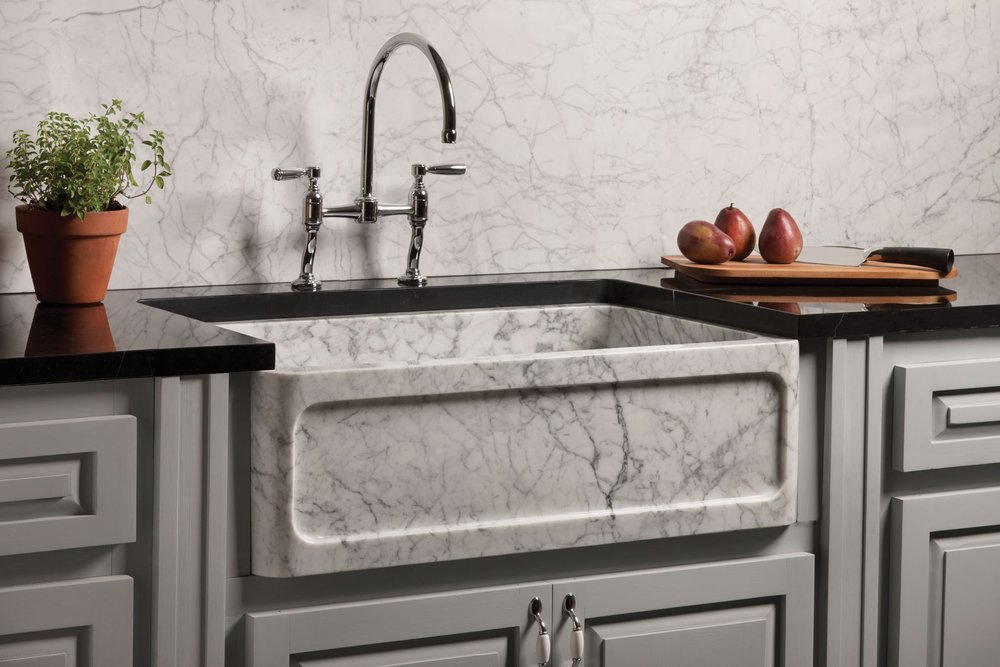 Carved Marble Farmhouse Sink