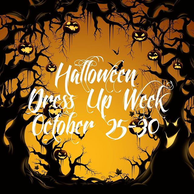 Halloween Dress Up Week runs October 25th - 30th!  All dancers are invited to dress up for classes!  Take a pic in our entry stairwell and tag us in your photos!  We can't wait to see you!! 🎃