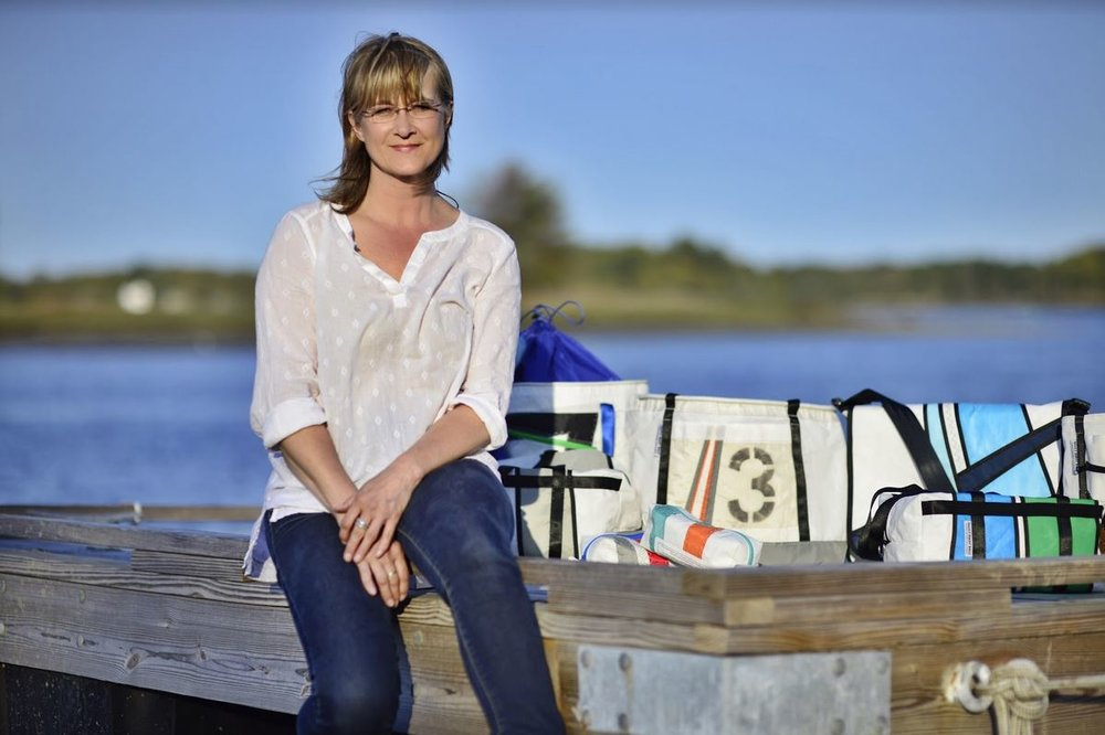 Hoist Away Bags owner and founder Laura Cleminson with some of her creations
