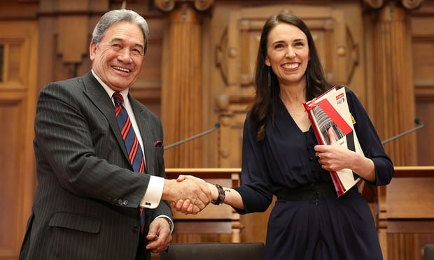 New Zealand's 40th Prime Minister, Jacinda Ardern and NZ First leader Winston Peters at the coalition agreement signing. Photograph: Hagen Hopkins/Getty Images