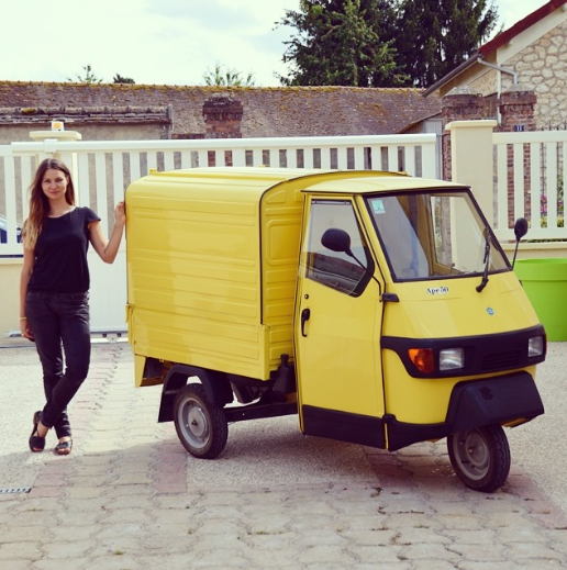 Proudly showing off Pepe the picnic-delivering piaggio, straight after purchase.