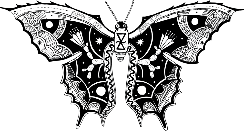 The Story of the Butterfly - Butterflies represent so much in our culture: beauty, life, growth, spring, resurrection, change, peace. For such a small insect, it carries so much incredible symbolic weight. We want this image to imply all of these metaphors and more.When you look at a butterfly as a shape, it somewhat resembles a funnel: two wide wings being channeled into a thin middle before erupting again onto the other side. When you look at border crossings from above, the same shape emerges.Only an artist could have seen this incredible imagery! Lucky for us, one of Greeley's best artists, Wes Sam Bruce, saw this similarity and represented that movement and story of change onto the wings of this butterfly. To us, this butterfly is how we represent the Journey of Hope: it is our students, our organization, our city, our society. Our story is written on its wings—and we continue to write that story daily. Together, let's make our story one worth telling.