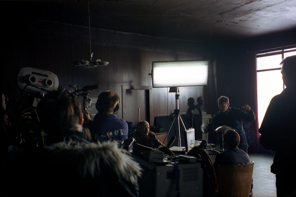Kino Flo lights being used on set