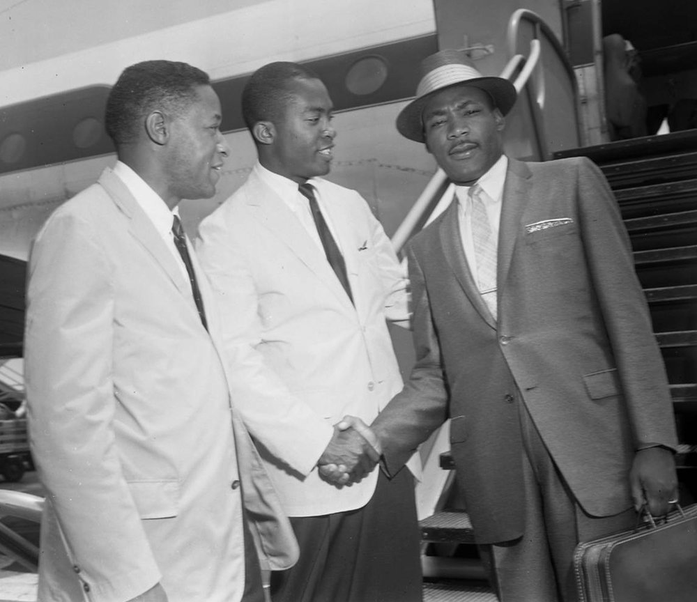Dr. Martin Luther King Jr. arrives at Los Angeles International Airport.  Photo: Charles Williams