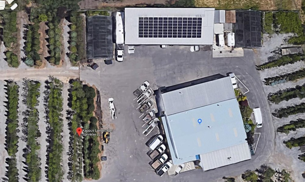Satellite image of the Kappus Landscape Sprinkler office and nursery showing our solar panel array that powers our shop and electric cars.