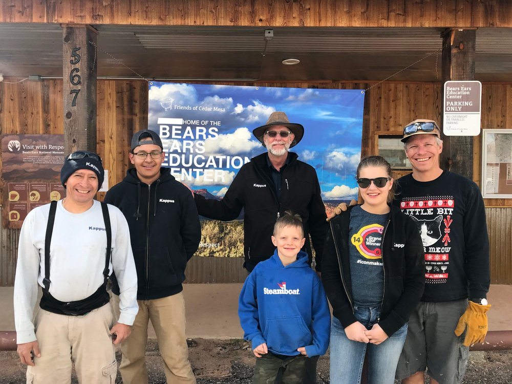 Some of Kappus Landscape's volunteer work crew for the Bears Ears Visitor center in Bluff, Utah.