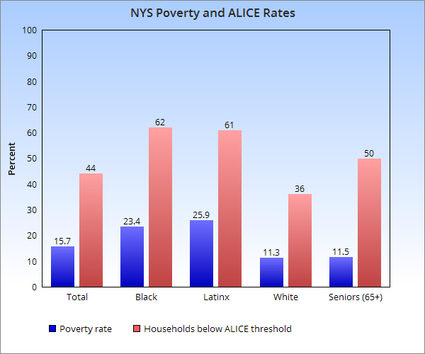 Sources: ALICE New York Study of Financial Hardship, http://unitedwayalice.org/documents/16UW%20ALICE%20Report_NY_Lowres_11.11.16.pdf; New York State Annual Poverty Report, by New York State Community Action Association, http://nyscommunityaction.org/PovReport/2016/Poverty%20Report_2017_Master%20Doc.pdf